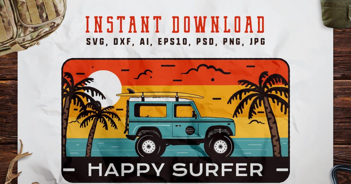 Download Happy Surfer Badge / Vintage Travel Logo by JeksonJS