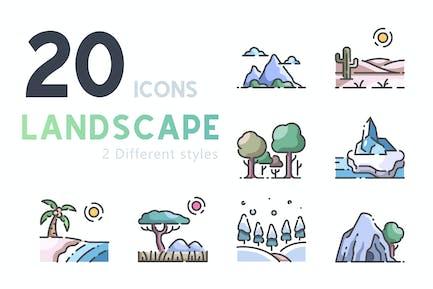 20 Landscape icon set