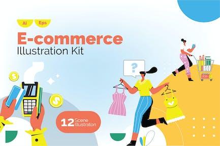 Ilustración de comercio electrónico