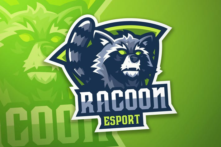 Racoon Sport And Esport Logo Vector Template