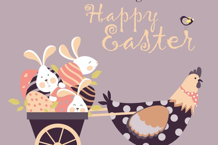 Easter bunnies,chicken and easter eggs. Vector