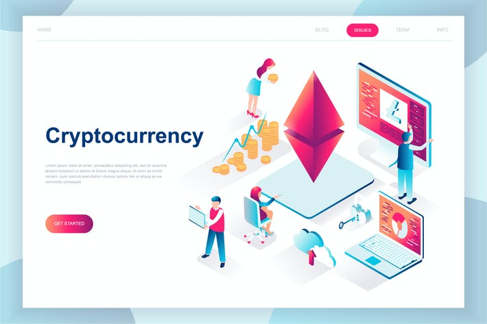 Thumbnail for Cryptocurrency Exchange Isometric Landing Page