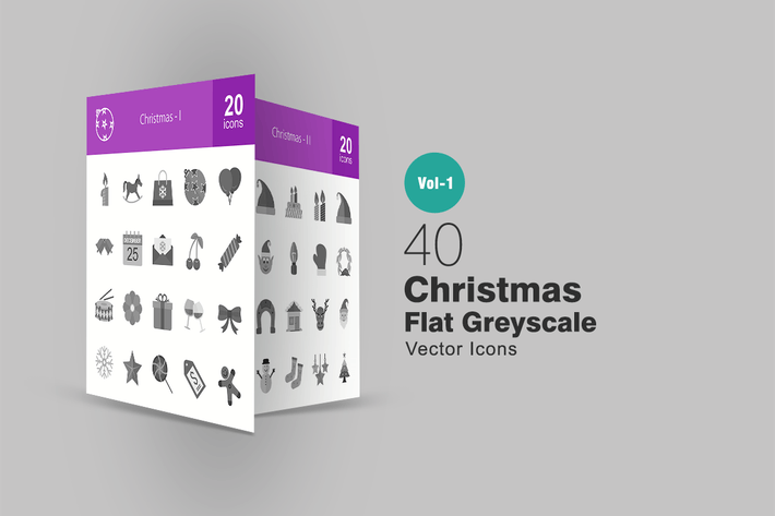 Thumbnail for 40 Christmas Greyscale Icons