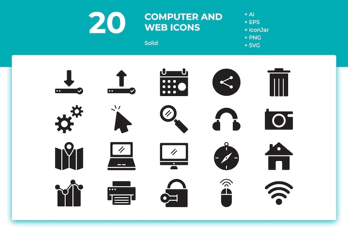 Thumbnail for 20 Computer and Web Icons (Solid)