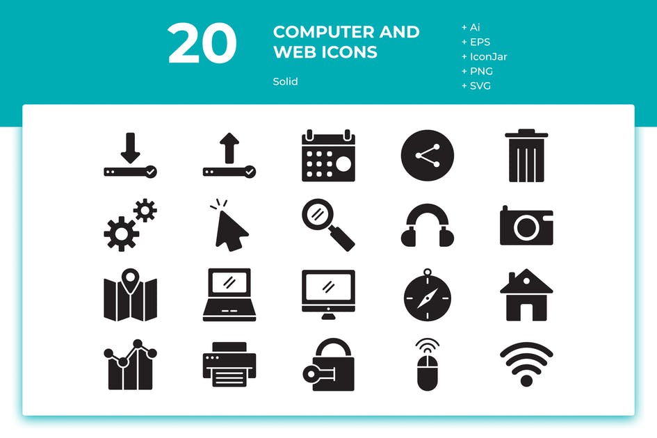 Download 20 Computer and Web Icons (Solid) by inipagi