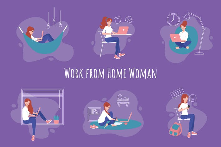 Thumbnail for Woman Work from Home Hand Drawn