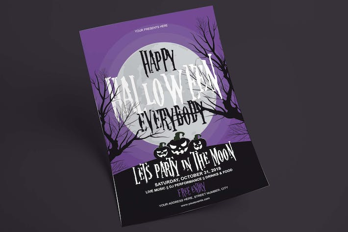 Cover Image For Halloween Flyer - Party In The Moon