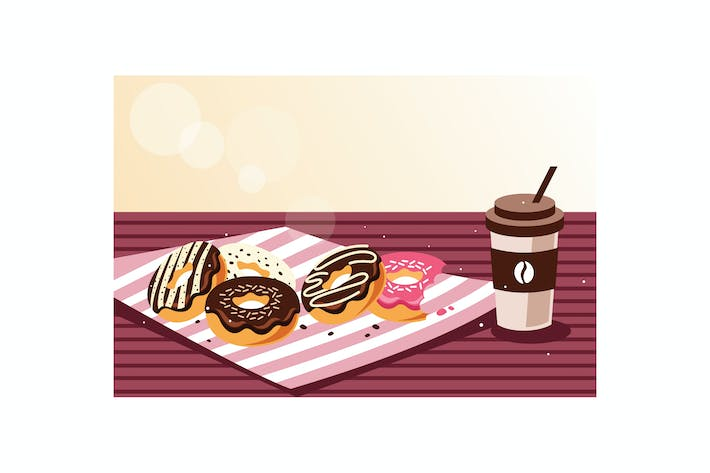 Thumbnail for Breakfast with donuts and coffee