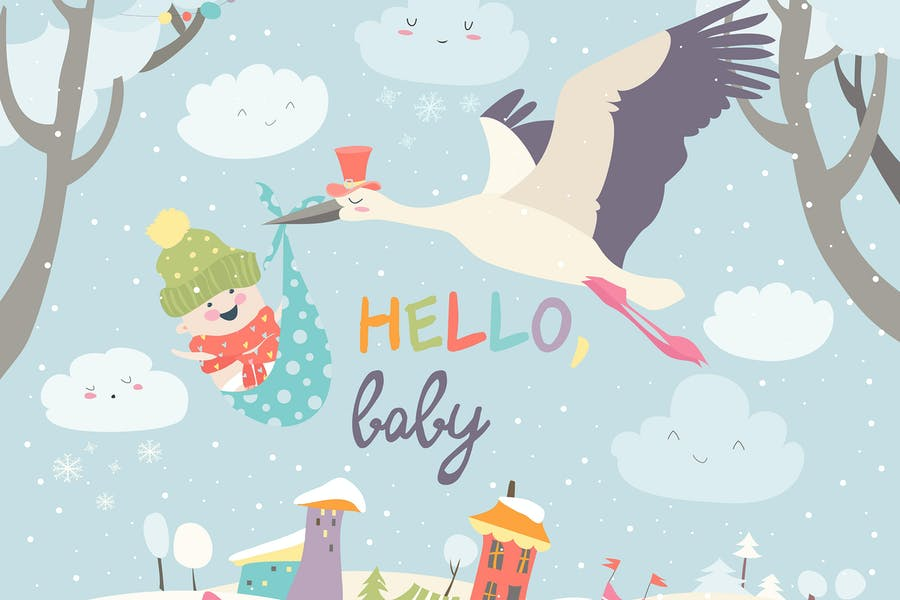 Stork is flying in the sky with baby