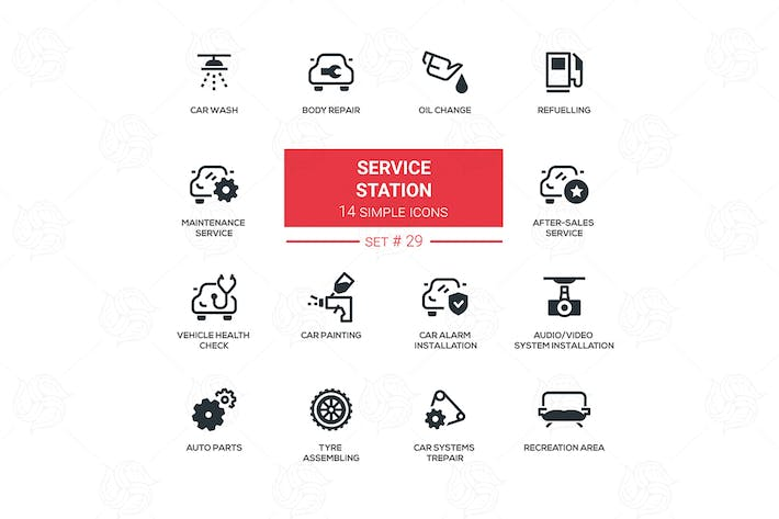 Service station - flat design style icons set