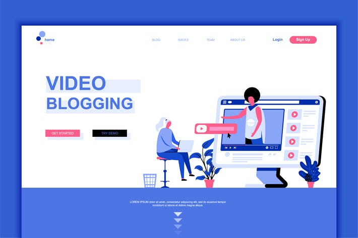 Thumbnail for Video Blogging Flat Landing Page Template