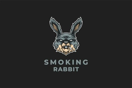 Smoking Rabbit Mascot Design