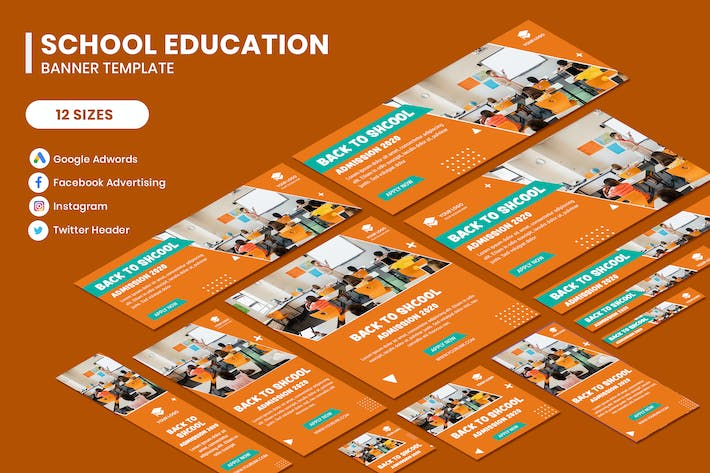 Thumbnail for School Education Google Adwords Banner Template