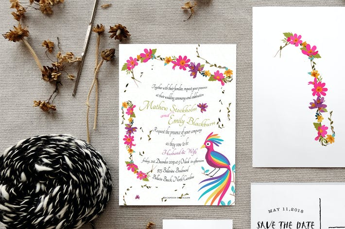 Thumbnail for Colourful Floral Wedding Card