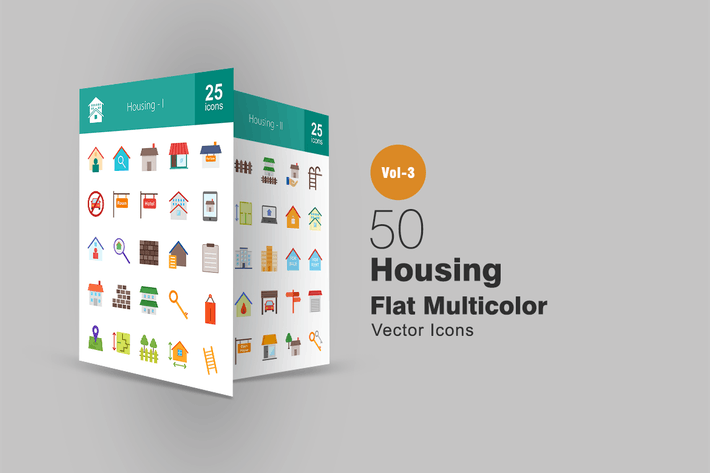 Thumbnail for 50 Housing Flat Multicolor Icons