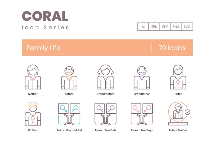 Thumbnail for 70 Family Life Line Icons