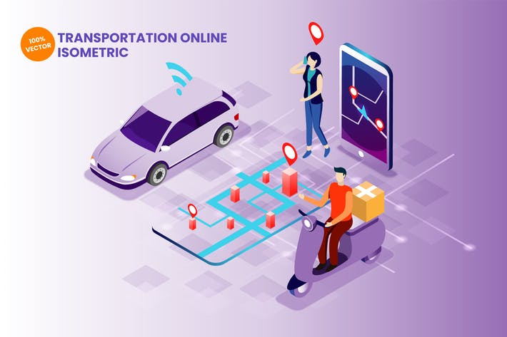 Thumbnail for Isometric Transportation Online Vector