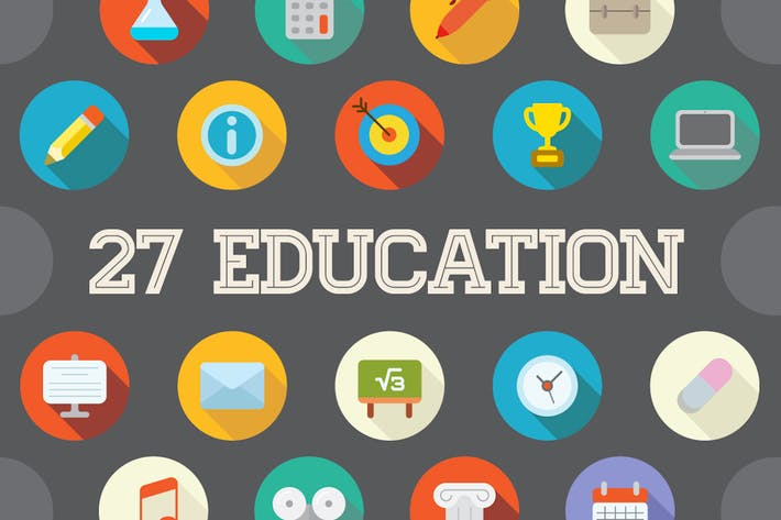 Thumbnail for 27 Vector Education Flat Icons Set