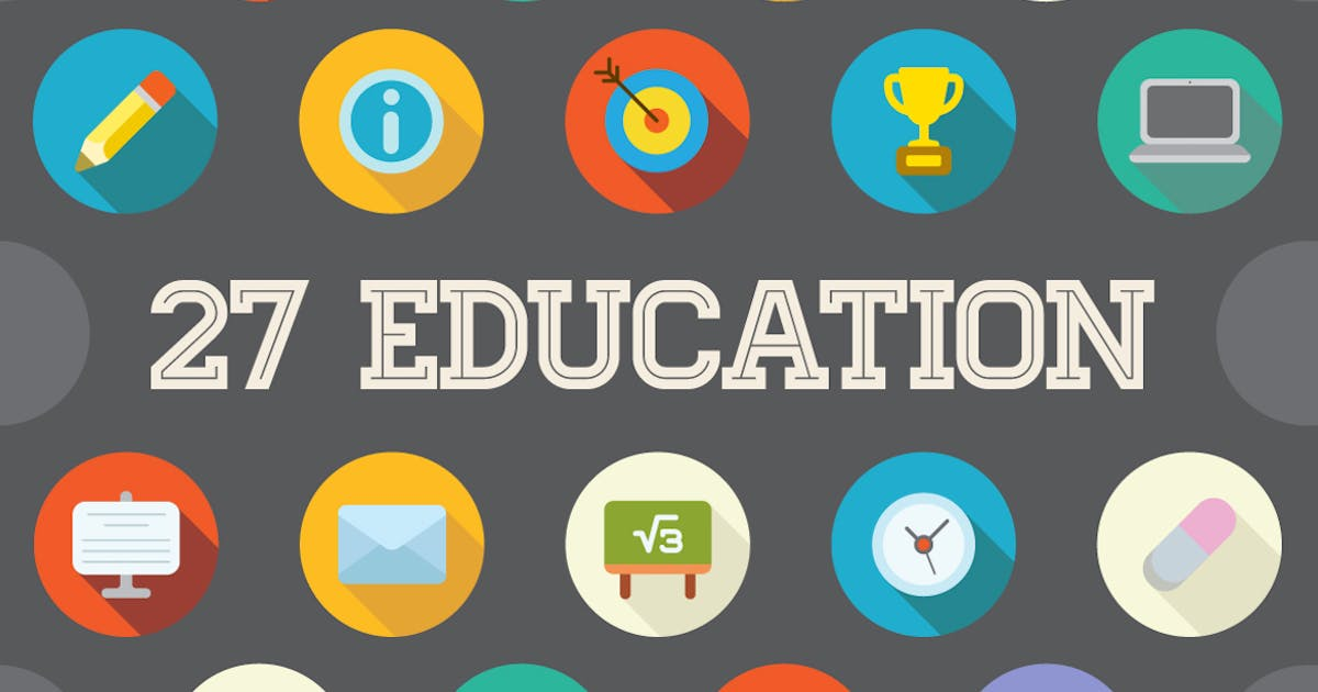 Download 27 Vector Education Flat Icons Set by CkyBe