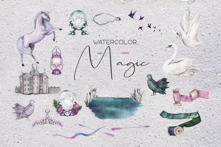 Thumbnail for Watercolor magic - mysterious objets set