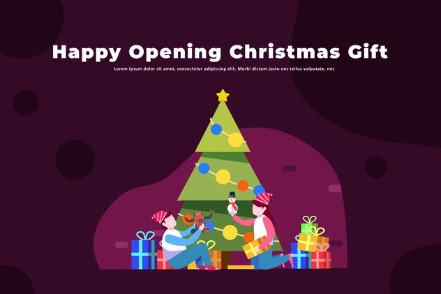 Happy Opening Christmas Gift - Illustration