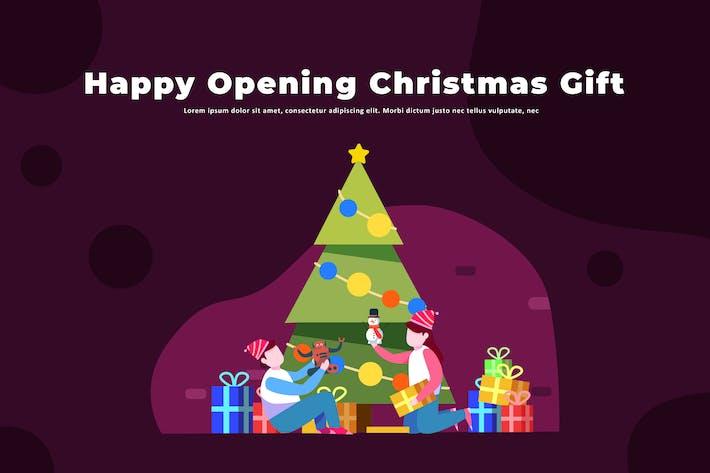 Happy Opening Christmas Gift - Illustration