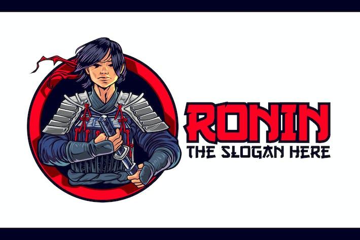 Thumbnail for Logo de mascotte jeune personnage Ronin