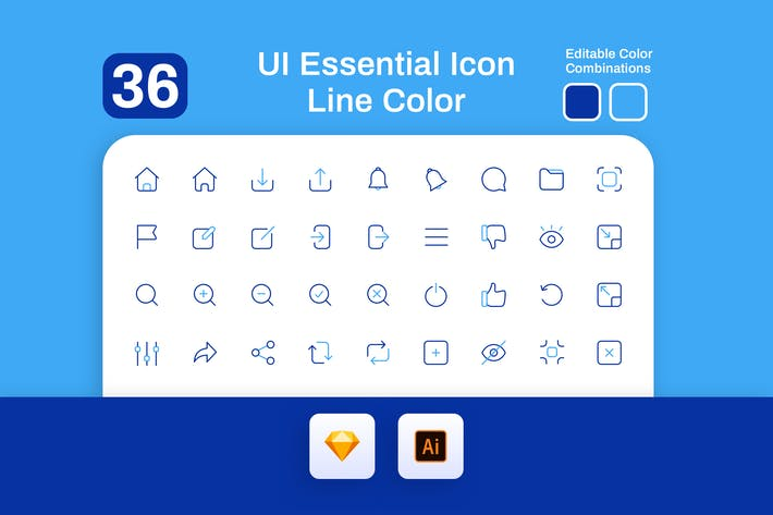 Thumbnail for UI Essential Icon Line Color