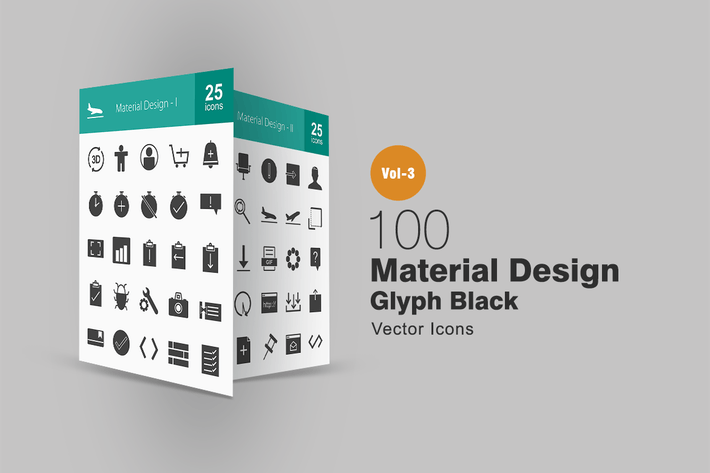 100 Materialdesign Glyphe Icons