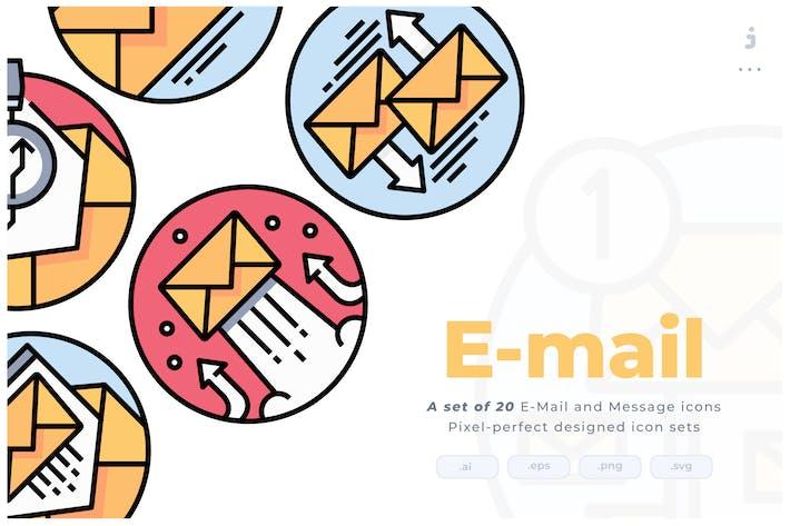 Thumbnail for 20 E-mail Colorline Circular Icon set