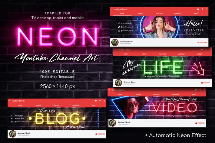 Thumbnail for Neon YouTube Channel Art