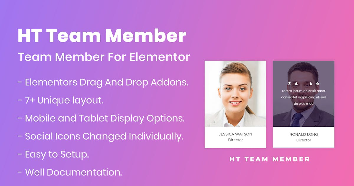 Download HT Team Member For Elementor by codecarnival