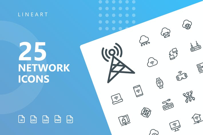 Thumbnail for Network Lineart Icons