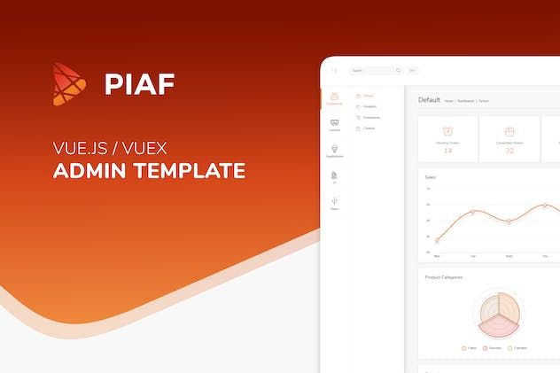 Piaf Vuejs - Vuejs Admin Template by ColoredStrategies on