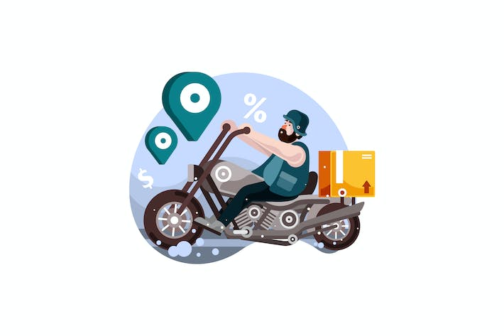 Thumbnail for Motorcycle Delivery Service Vector Illustration