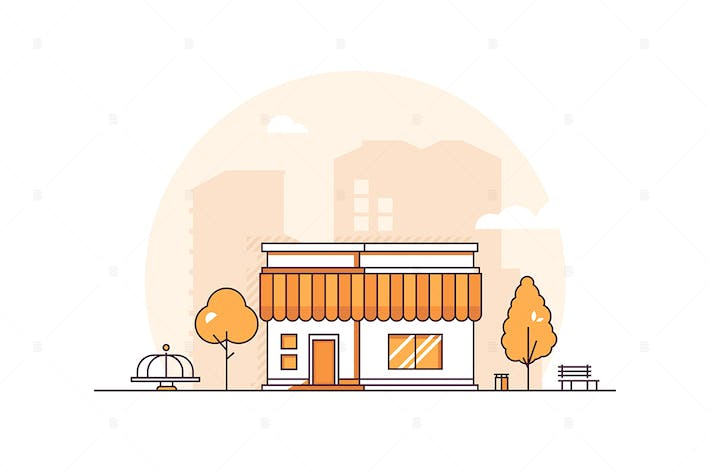 Cover Image For Small shop - thin line design style illustration
