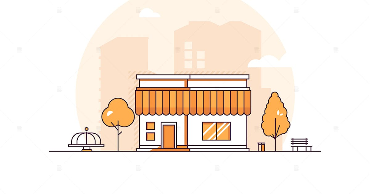 Download Small shop - thin line design style illustration by BoykoPictures