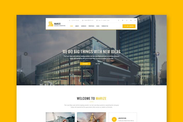 Thumbnail for Marize - Construction & Building PSD Template
