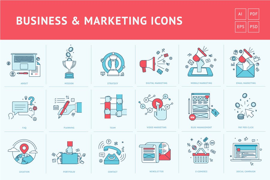 Íconos de líneas planas para negocios y marketing