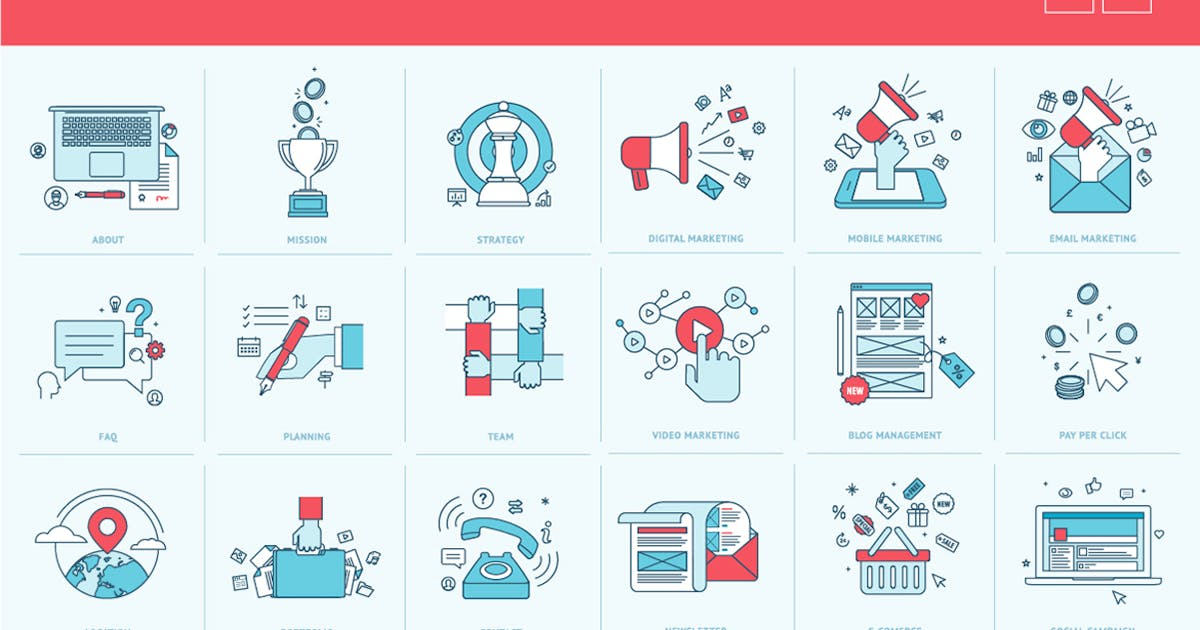 Download Flat Line Icons for Business and Marketing by PureSolution