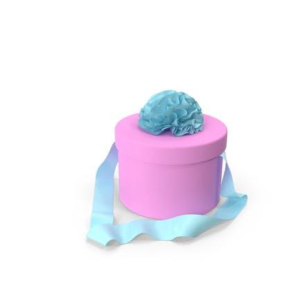 Rosa runde Schachtel mit hellblauem Band