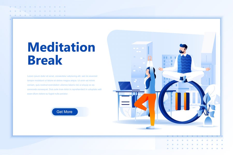 Meditation Break Flat Landing Page Header