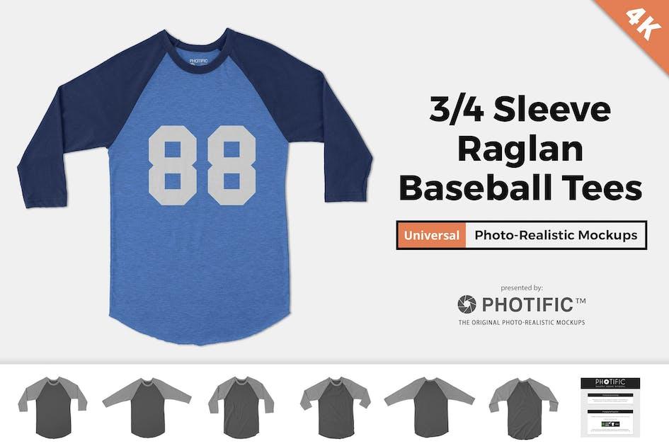 Download 3/4 Raglan Baseball Tee Mockups by Photific