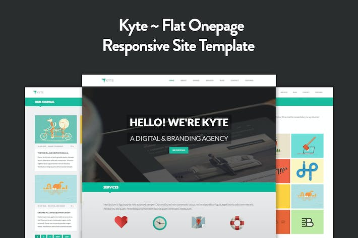 Thumbnail for Kyte - Flat Onepage Responsive HTML5 Template
