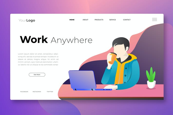 Thumbnail for Work Anywhere - Web Header Vector Template