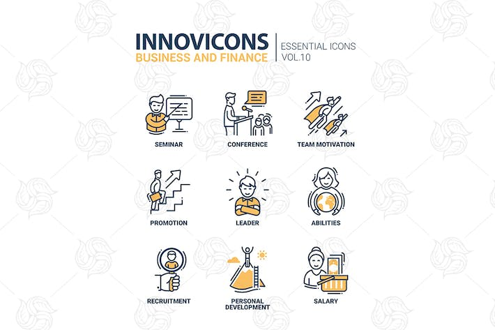 Thumbnail for Modern vector business and finance icons