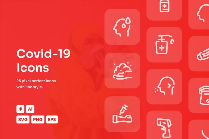 Covid-19 Dashed Line Icons