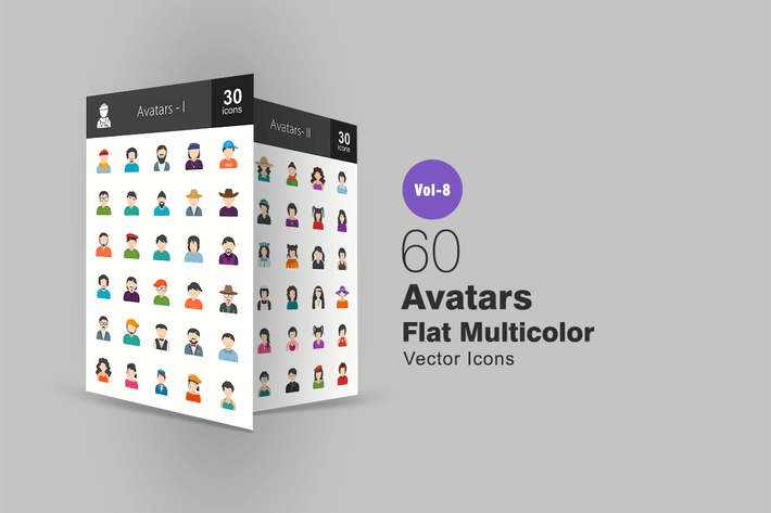 Thumbnail for 60 Avatars Flat Multicolor Icons