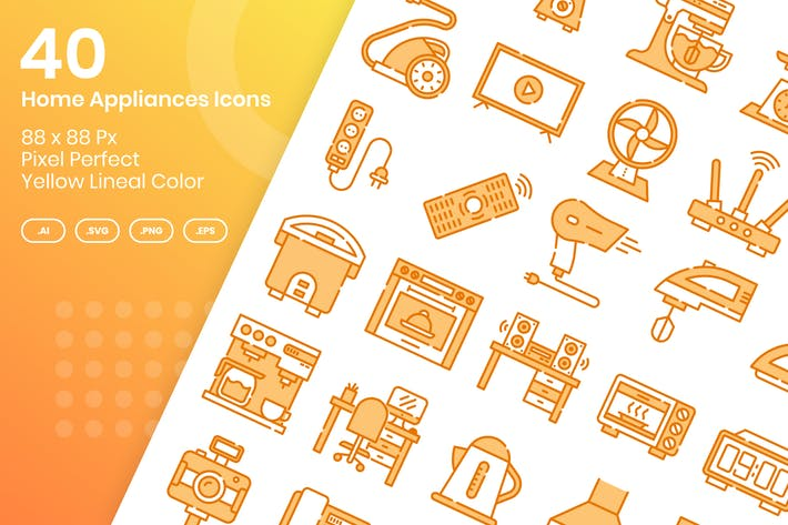 Thumbnail for 40 Home Appliances Icons Set - Yellow Lineal Color