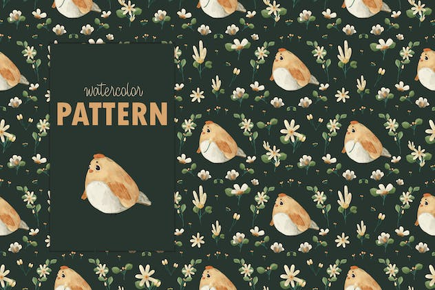 Watercolor Animal and flower seamless pattern.